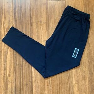 Black Leggings With Tie Up Waist Band- XL